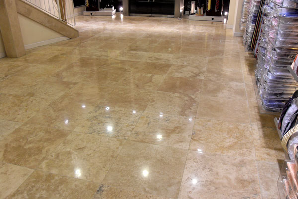Travertine Floor Before Crack Repair In Portadown Co Armagh