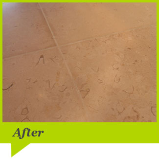 A limestone floor after cleaning