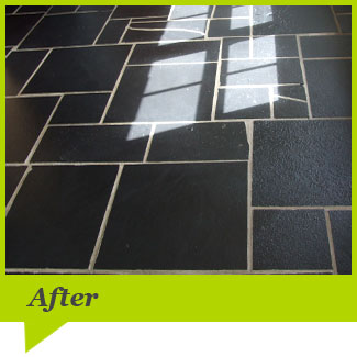 A Slate floor after cleaning