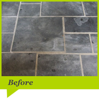 A Slate floor before cleaning