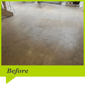 A Travertine floor before cleaning
